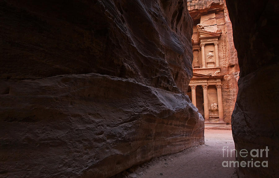 The Siq And Treasury At Petra Photograph  - The Siq And Treasury At Petra Fine Art Print