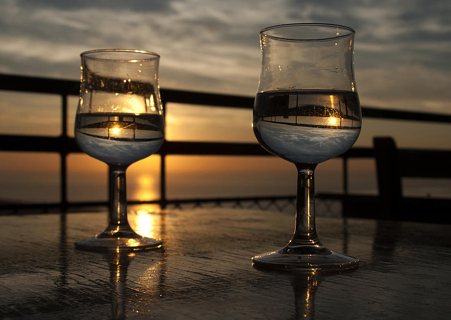 The Sky In Wine Glasses Of Lovers Photograph