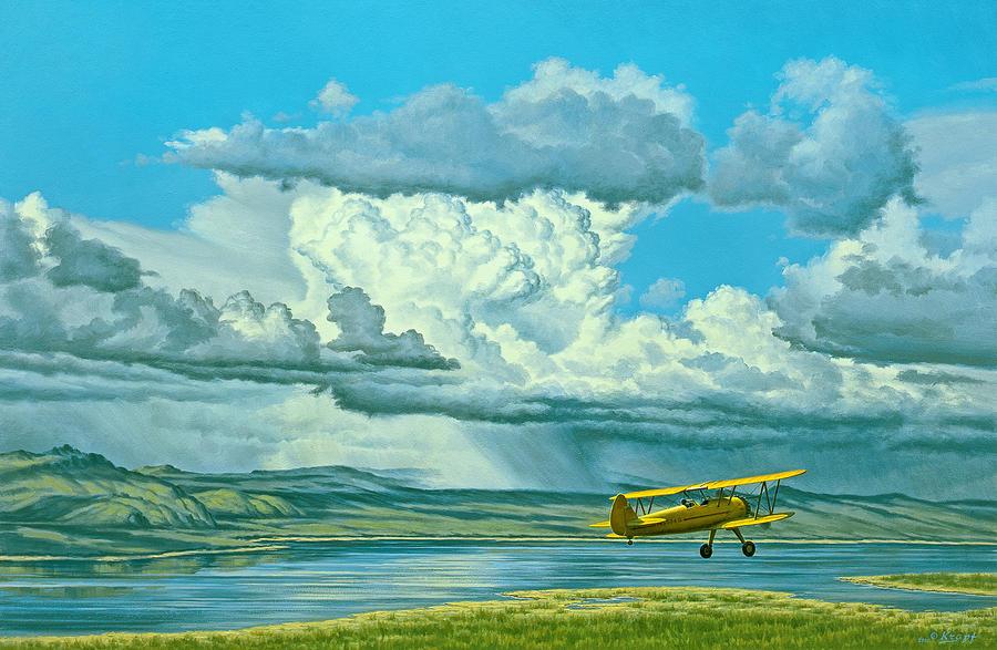 Landscape Painting - The Sky-stearman Biplane by Paul Krapf
