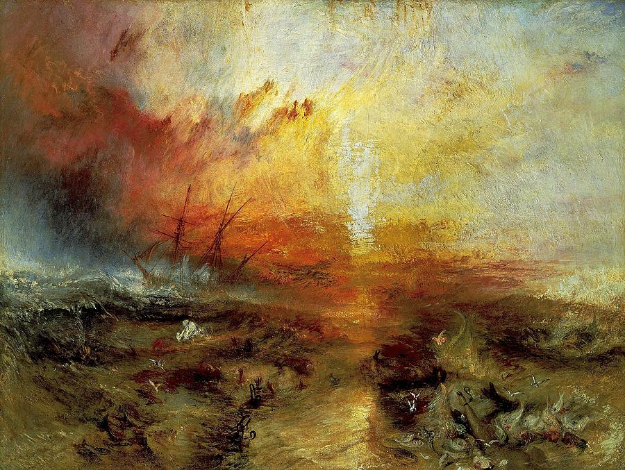 j m w turners painting the slave ship On left wall, j m w turner, sheerness as seen from the nore, ca 1808   coming on, known colloquially as the slave ship (museum of fine arts, boston.