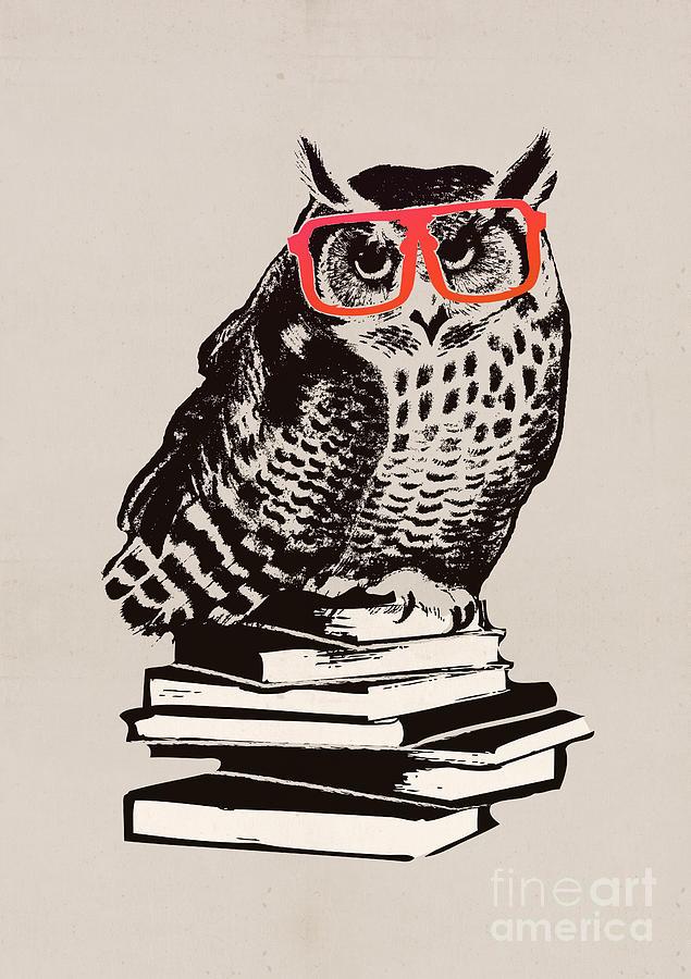 The Smart Nerdy Owl Digital Art