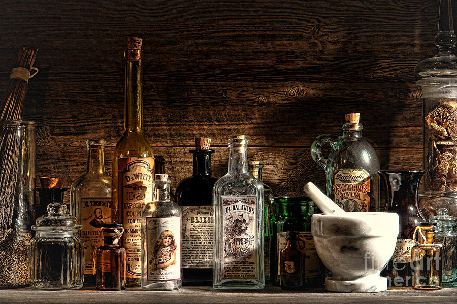 Apothecary Photograph - The Snake Oil Shop by Olivier Le Queinec