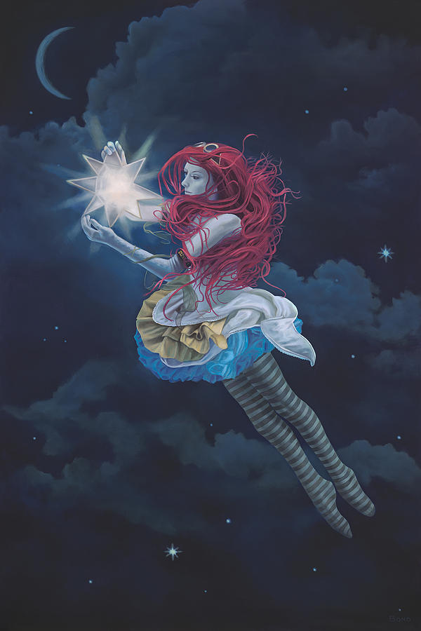 Steam Punk Girl Floating Painting - The Star Hanger by Paul Bond
