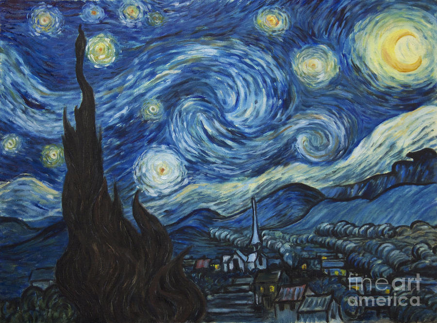The Starry Night - Van Gogh Copy Painting  - The Starry Night - Van Gogh Copy Fine Art Print