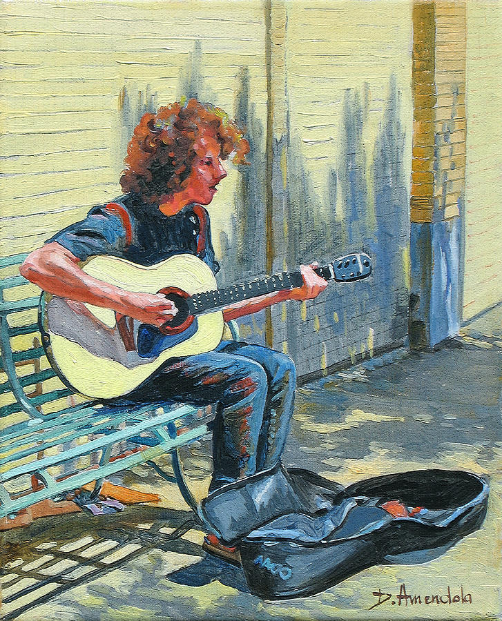 The Street Guitarist Painting