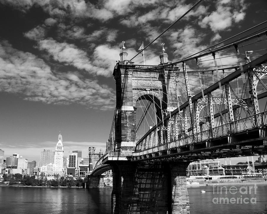 The Suspension Bridge Bw Photograph