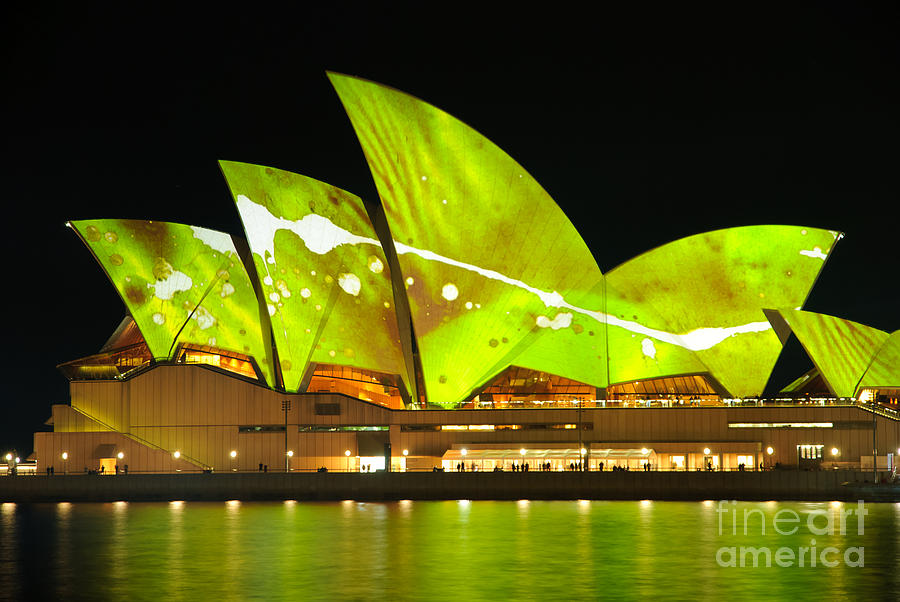 The Sydney Opera House In Vivid Green Photograph
