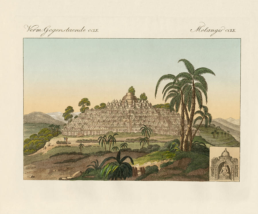 The Temple Of Buddha Of Borobudur In Java Drawing