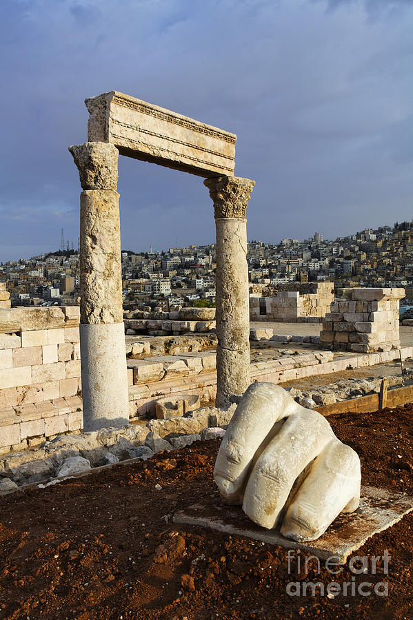 The Temple Of Hercules And Sculpture Of A Hand In The Citadel Amman Jordan Photograph  - The Temple Of Hercules And Sculpture Of A Hand In The Citadel Amman Jordan Fine Art Print