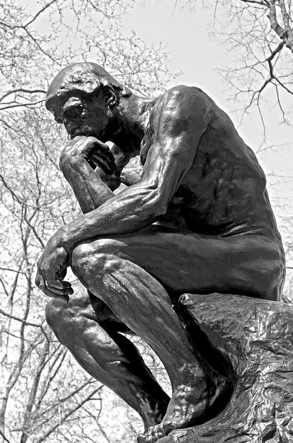 The Thinker In Black And White Photograph