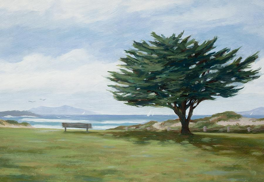 The Tree Painting - The Tree At Marina Park by Tina Obrien