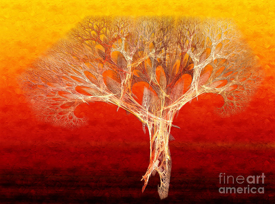 The Tree In Fall At Sunset - Painterly - Abstract - Fractal Art Digital Art