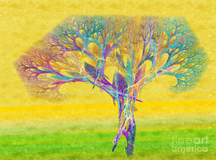 The Tree In Spring At Midday - Painterly - Abstract - Fractal Art Digital Art