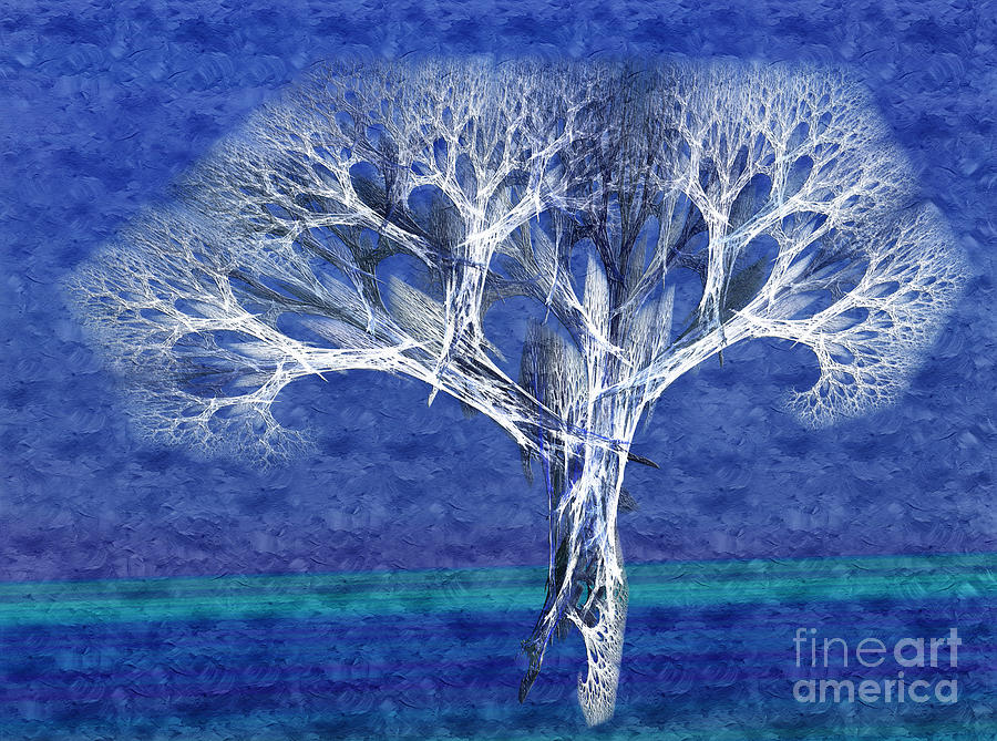 The Tree In Winter At Dusk - Painterly - Abstract - Fractal Art Digital Art  - The Tree In Winter At Dusk - Painterly - Abstract - Fractal Art Fine Art Print