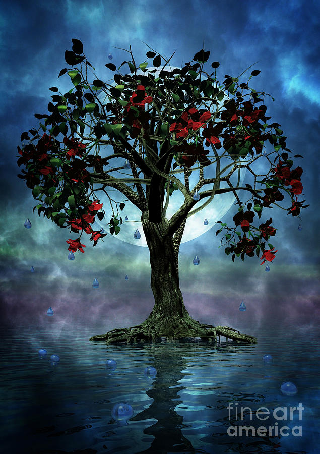 Fantasy Tree Painting - The Tree That Wept A Lake Of Tears by John Edwards