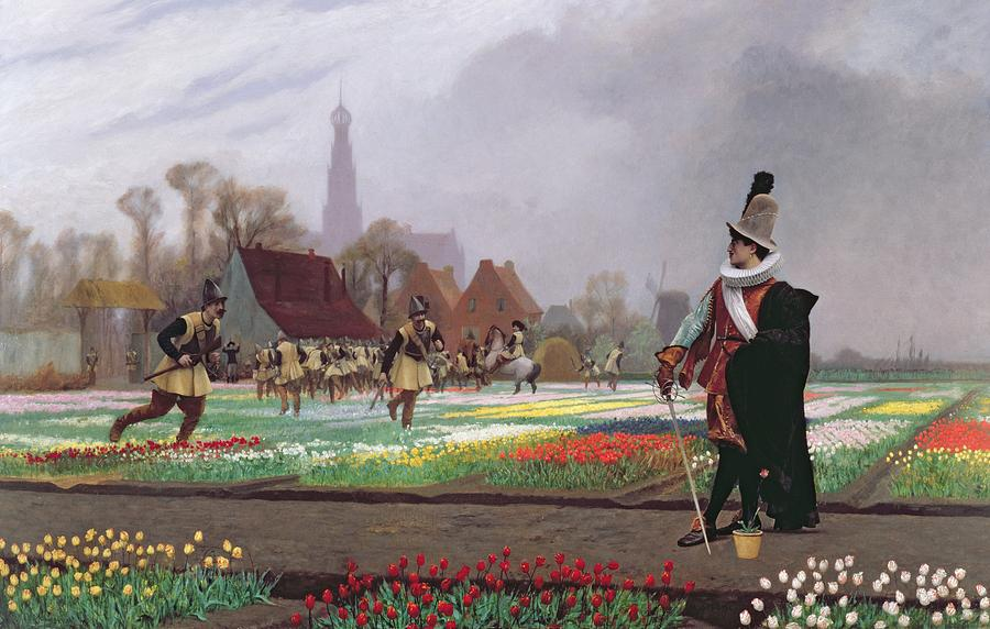 Soldiers; Soldier; Ruff; Hat; Traditional Costume; Dutch; Cathedral Tower; Playing; Fields Of Tulips; Field; Colorful; Crop; Farm; Path; Horticulture; Holland; Commodity; Tulipomania Painting - The Tulip Folly by Jean Leon Gerome