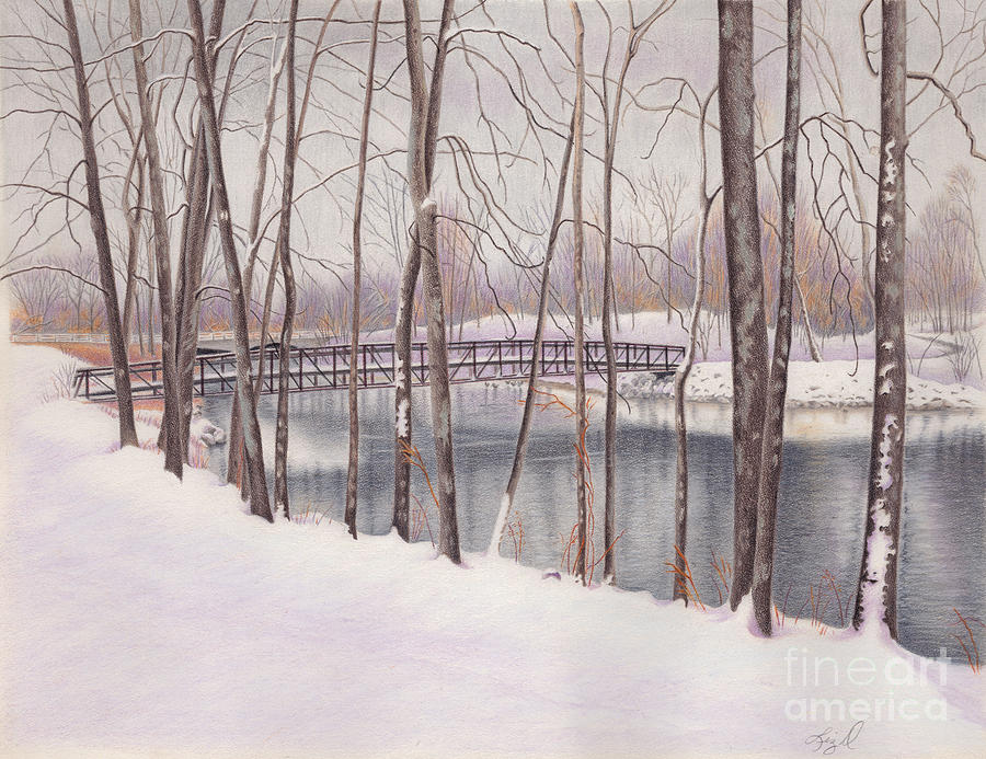 The Tulip Tree Bridge In Winter Painting