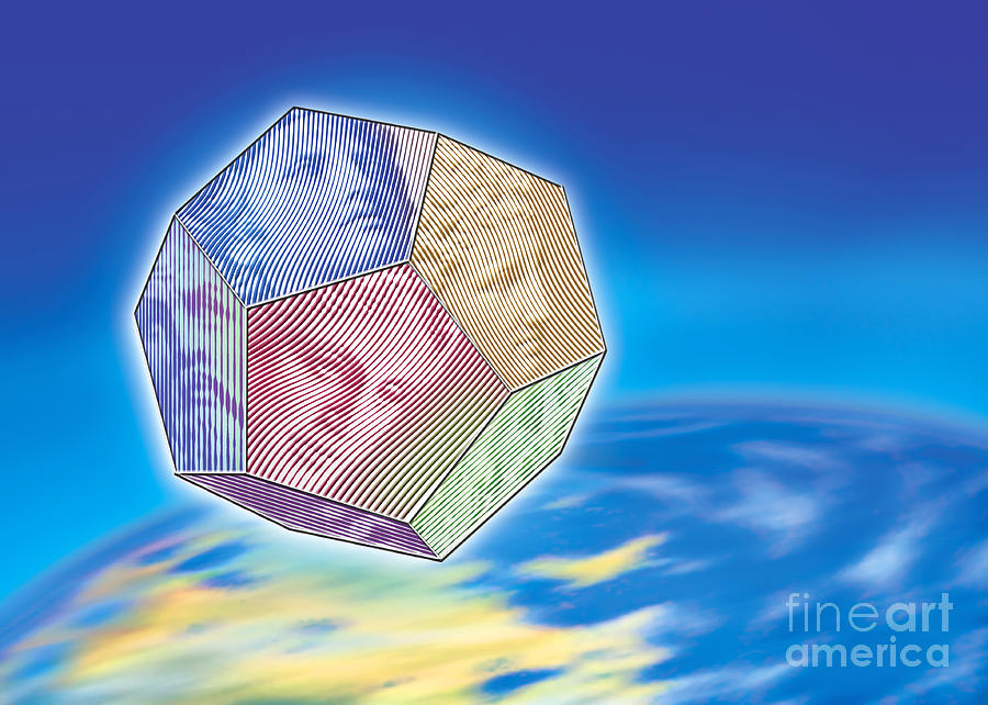 The Twelve Olympic Gods And Dodekahedron  Digital Art  - The Twelve Olympic Gods And Dodekahedron  Fine Art Print