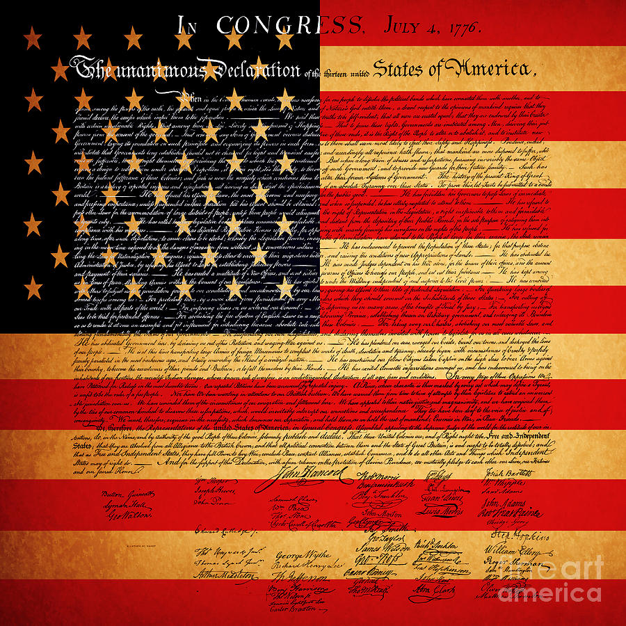 The United States Declaration Of Independence - American Flag - Square Photograph  - The United States Declaration Of Independence - American Flag - Square Fine Art Print