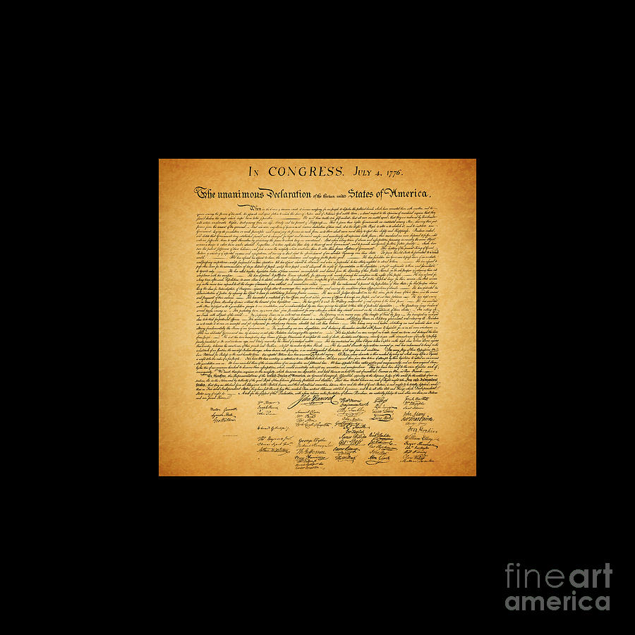 The United States Declaration Of Independence - Square Black Border Photograph