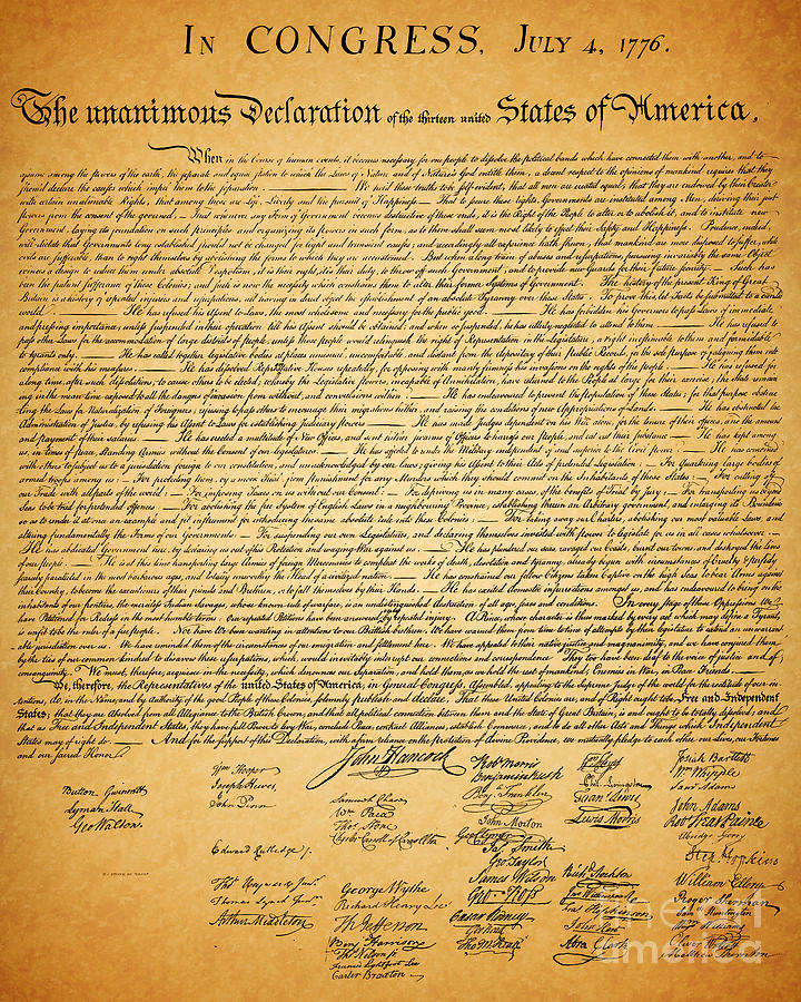The United States Declaration Of Independence Photograph