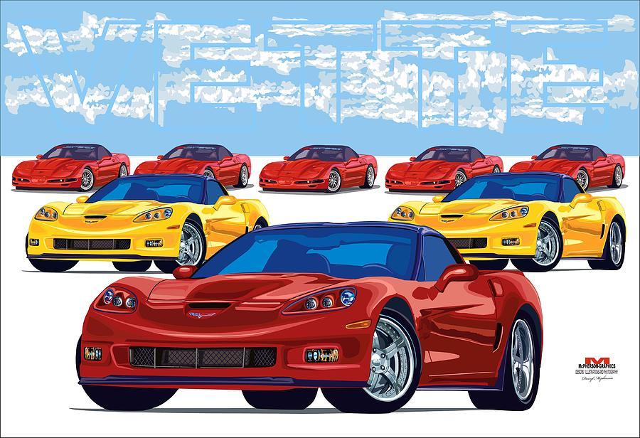 The Vettes 2 Digital Art  - The Vettes 2 Fine Art Print