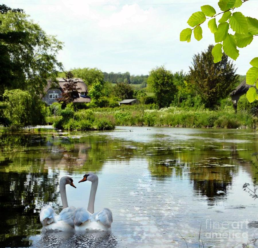 Village Mixed Media - The Village Pond by Morag Bates