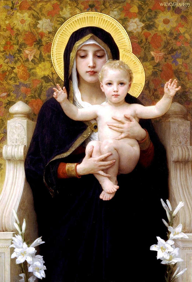 The Virgin Of The Lilies Digital Art - The Virgin Of The Lilies by William Bouguereau