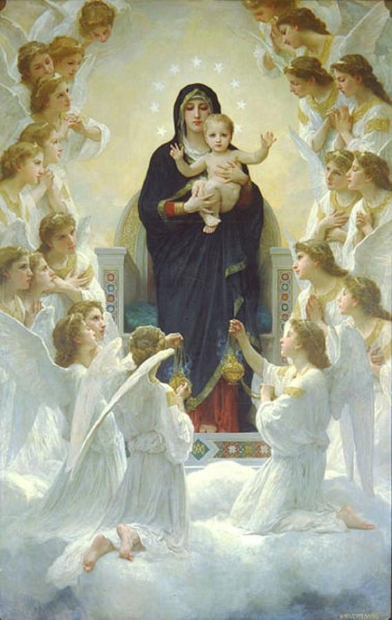 The Virgin With Angels Painting  - The Virgin With Angels Fine Art Print