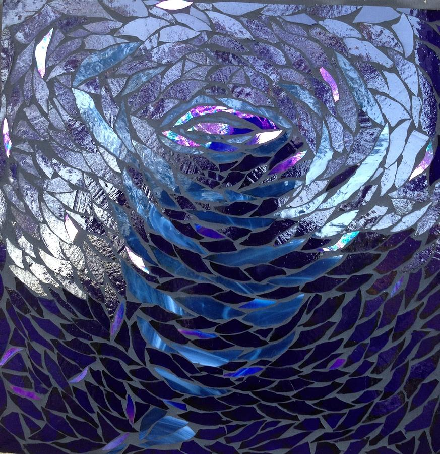 Blue Glass Art - The Vortex by Alison Edwards