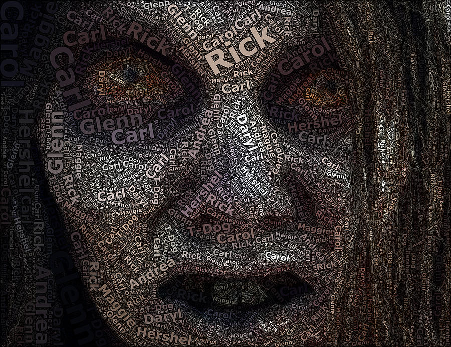 The walking dead names zombie mosaic drawing by paul van scott for Drawing mosaic pictures
