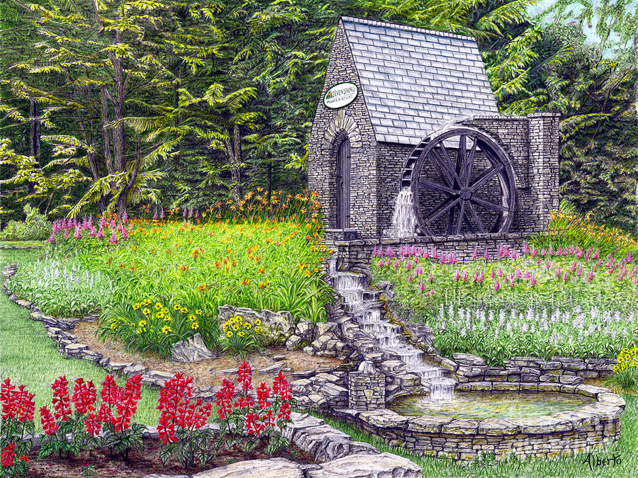 The Water Wheel At Seven Springs Mountain Resort Painting  - The Water Wheel At Seven Springs Mountain Resort Fine Art Print