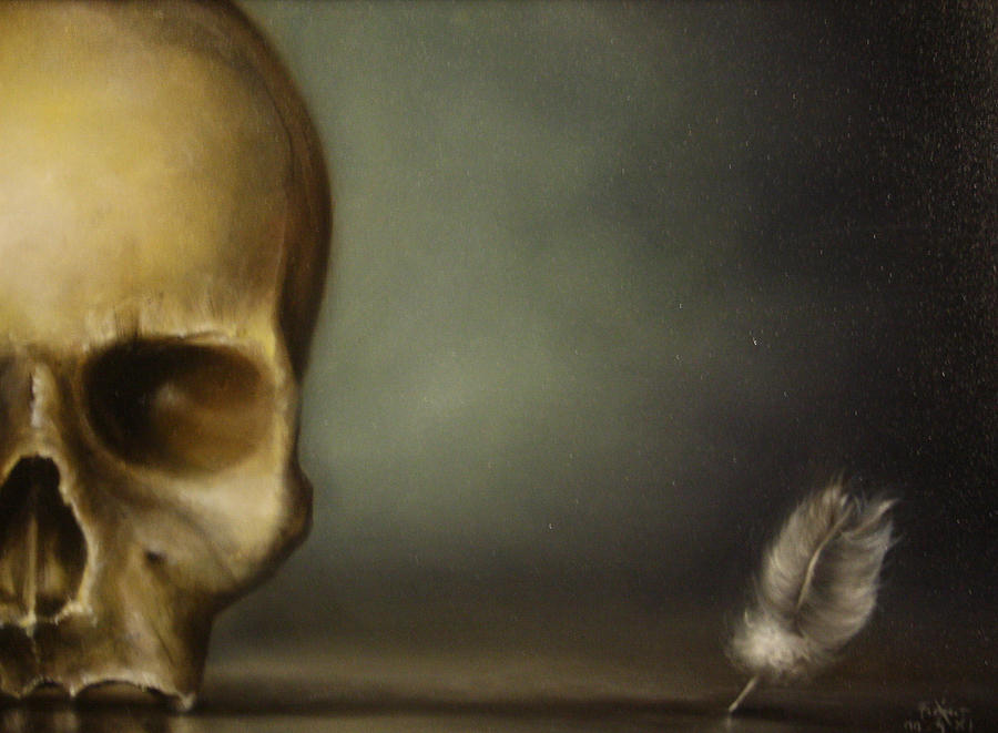Skull Painting - The White Feather by Simone Galimberti