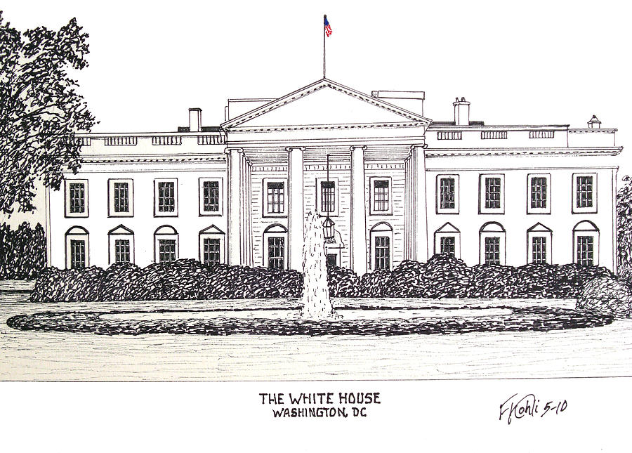 The White House Drawing  - The White House Fine Art Print