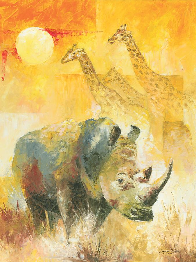 The White Rhino Painting  - The White Rhino Fine Art Print