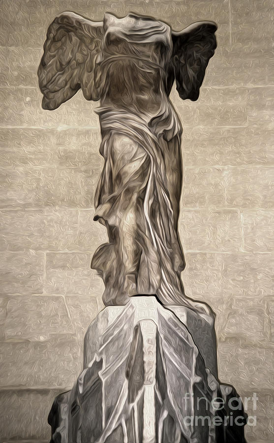 The Winged Victory Of Samothrace Marble Sculpture Of The Greek Goddess Nike Victory Painting  - The Winged Victory Of Samothrace Marble Sculpture Of The Greek Goddess Nike Victory Fine Art Print