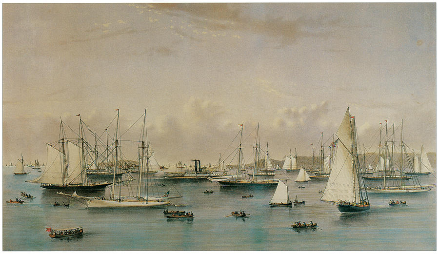 The Yacht Squadron At Newport Painting