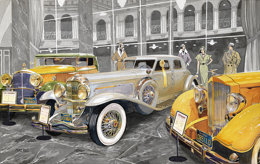 Duesenberg Packard Maybach Zeppelin Twenty Grand Automobile Classic Autos Auto Car Cars Collector Sylmar California Nethercutt Museum Deco Depression Thirties 1930 1931 1932 1933 1934 Orello Yellow Mirrors Marble Ribbon  Painting - The Yellow Ribbon by Mike Hill