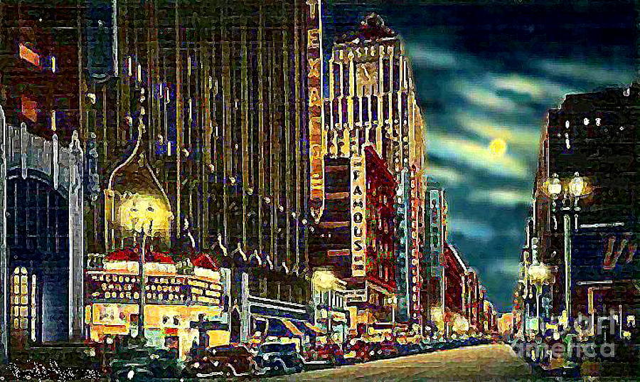 Theatre row on broadway in los angeles ca 1942 painting by for Painting in los angeles
