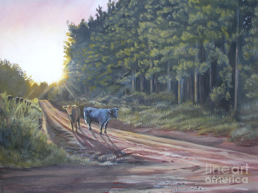 Them Cows Is Out Again Painting