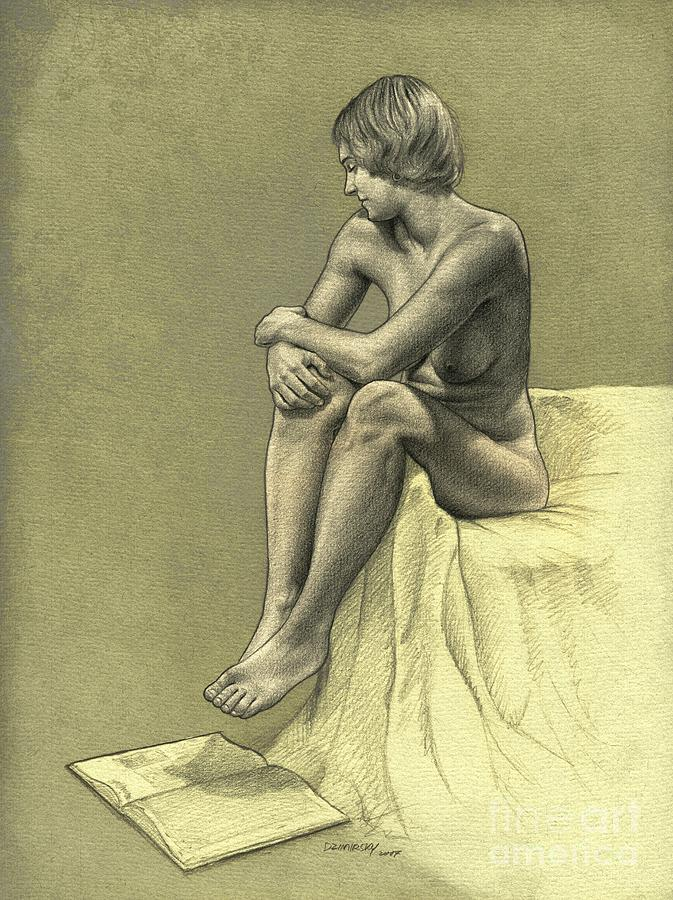 Thinking Drawing  - Thinking Fine Art Print