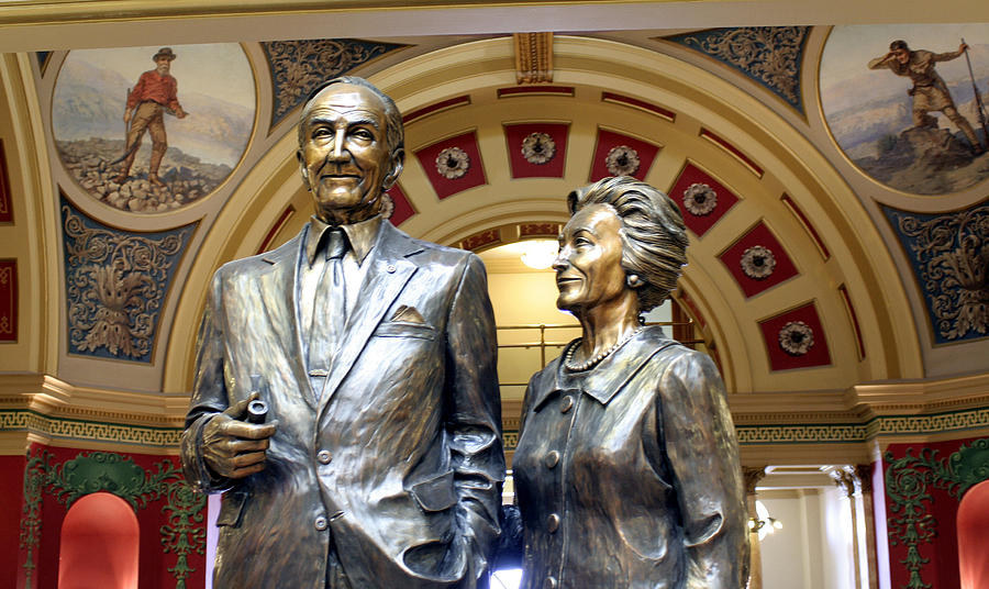This Statue Of Maureen And Mike Mansfield Photograph - This Statue Of Maureen And Mike Mansfield by Larry Stolle