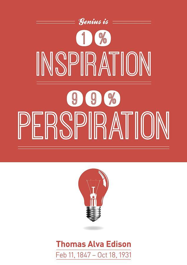 Thomas Alva Edison Quote Typography Print Digital Art