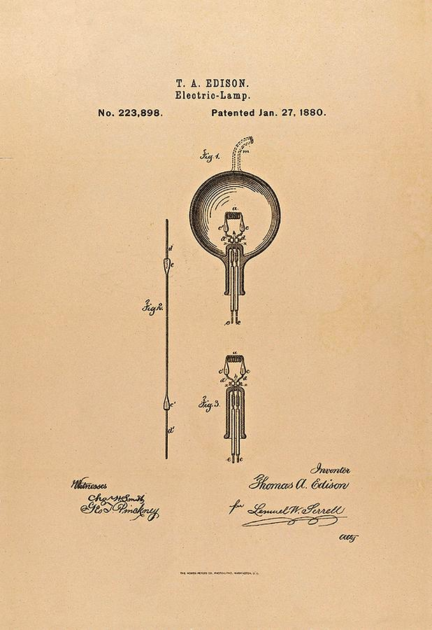 Thomas Edison Patent Application For The Light Bulb Photograph