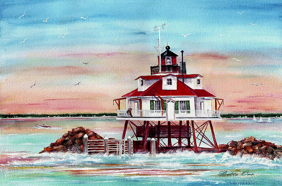 Thomas Point Lighthouse Painting  - Thomas Point Lighthouse Fine Art Print