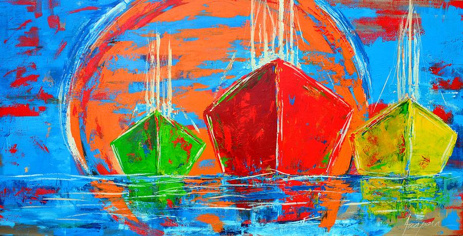 Three Boats Sailing In The Ocean Painting