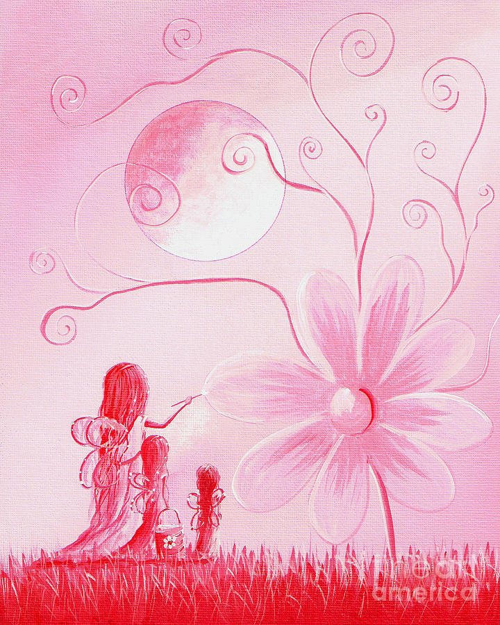 Three Daisy Fairies By Shawna Erback Painting
