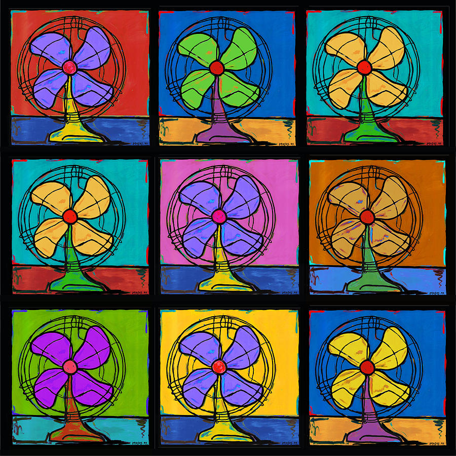 Three Fans Squared Painting  - Three Fans Squared Fine Art Print