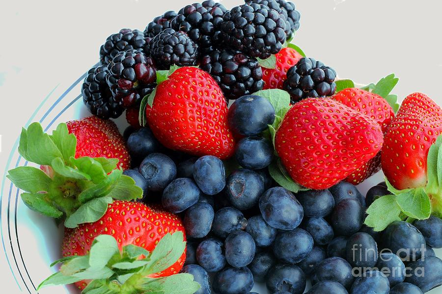 Three Fruit 2 - Strawberries - Blueberries - Blackberries Photograph  - Three Fruit 2 - Strawberries - Blueberries - Blackberries Fine Art Print