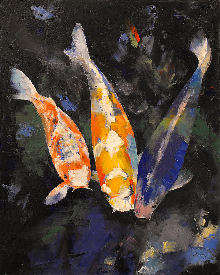 Three koi fish painting by michael creese for Michael koi pond